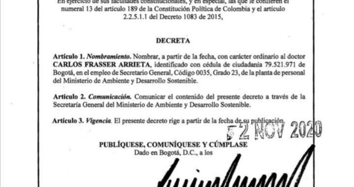 CARLOS FRASSER, NUEVO SECRETARIO DE MINAMBIENTE